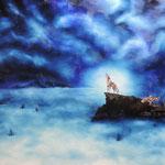 la brume aux loups, huile sur toile (100 x 81)