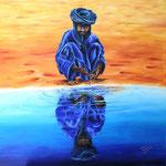 Reflets d'Afrique. Timia, Niger. huile sur toile 90 x 90