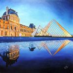 Reflets du Louvre. Paris. huile sur toile 90 x 90