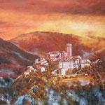 """Antraigues, brume d""""automne.  huile sur toile (100 x 81)"""