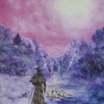 Brume pastorale. huile sur toile (100 x 81)
