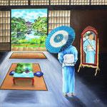 Reflets de Kyoto. huile sur toile 90 x 90 (non disponible)