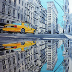 Reflets de New York. huile sur toile 90 x 90
