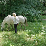 Tilda und Hummel genießen den Sommer auf der Wiese