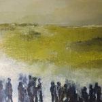 """Elipi, """"riziere"""", Acrylique sur toile, 80x80 cm, 2019, oeuvre disponible à l'emprunt"""