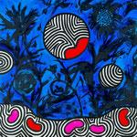 """Virginie GUIDEE, """"Phosphorescence"""", Huile sur toile, 80x80 cm, 2019,  oeuvre disponible à l'emprunt"""