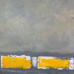 """Gérard BRU, """"Soleil et brouillard"""", Huile sur toile, 90x90 cm, 2018, oeuvre empruntée a ctuellement"""