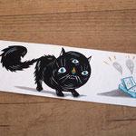 Scared cat Bookmark hand painted - Gatto spaventato segnalibro dipinto a mano