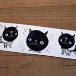 Three black cats bookmark hand painted - Tre gatti neri segnalibro dipinto a mano