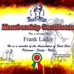 Certificaat van lidmaatschap van 'First Star', Palermo, Sicilie, Italie.
