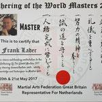 Certificaat uitgereikt tijdens Gathering of the world masters, Bridlington (UK), 20-21 april 2017. Vertegenwoordiger van de M.A.F.G.B.
