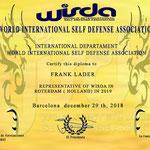 Representant voor 2019 van de World International Self Defense Association (WISDA).