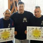 Uitreiking certificaten Dan-Kollegium. V.l.n.r. Derby Haagsma, Toni Finken-Schaffrath en Frank Lader