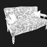 Historismus-Sofa mit komplett neuer Polsterung in klassischer Machart (geschnürte Federn, Afrikposter & Rosshaarpikierung)