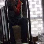 Selfie beim Absitzen (=Füllmaterial platt sitzen)