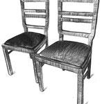 2 Sessel mit herausnehmbaren Sitzpolstern mit Federkern