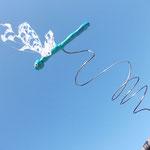 magnetische Libelle fliegt in den Himmel