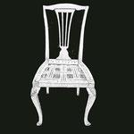 Sessel mit Rückenlehne in Harfenform