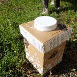 upcycling.MAUS.Box mit schwarzen Mäusen und Recycling-Deckel