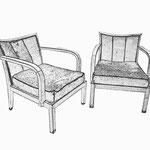 2 Fauteuils mit losen Sitzpolstern und dreigeteilter Rückenlehne