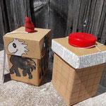 Box mit (See)Pferd neben Box mit Absteppung und Ucycling-Stoppel
