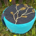 hohes Sitz- & Meditationspolster, gold-türkis-jeansblau