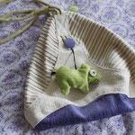Taschen-Rucksack in Grün, Violett und Naturweißtönen