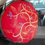 hohes Sitz- & Meditionspolster, rot und braun-gold, bedruckt und bemalt