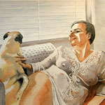 Bild, Mops mit Frau, Aquarell 50x70cm, Sfr. 1200.-