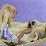 Bild, Mops mit Mädchen, Pastell, 50x70cm Sfr. 850.-
