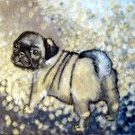 Bild, Mopswelpe Leinwand auf Acryl, 40x 50cm  Sfr. 550.-