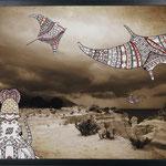 Once Upon a Time - Topsy Turvy: 48x70; stampa hd su tela fotografica; disegno a china; ricamo a mano con filo di seta.