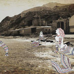 Once Upon a Time - La Sirené: 60x100; stampa hd su tela fotografica; disegno a china; ricamo a mano con filo di seta.