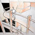 """""""Interieur"""" – Bleistift, Kugelschreiber, Aquarellstifte (copyright: Christian Seidlitz)"""