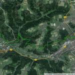 Limeswanderweg (Lorch/Schwäbisch Gmünd) = grüne Linie                              Limes = schwarze Linie
