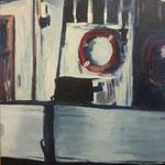 Kutter im Timmendorfer Hafen,  Acryl auf Leinwand, 80 x 60