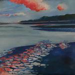 Rosa Wolke, 80x80, Acryl auf Leinwand, 2016