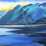 Lago  Maggiore am Morgen, 2016, 60x80, Acryl auf Leinwand