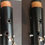 Avant / Après la réparation d'une fente entre les cheminées de la 1è et de la 2è cadence.