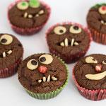 Schokomuffin dekoriert als Monstermuffin - Rezepte für Kinderparty und Kindergeburtstag