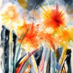Feuerspritzer, Aquarell und Buntstifte, 40x30