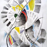 Windings, Bleistift und Farbstifte, 40x30