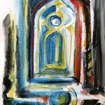 Das Tor von Agustin, Aquarell und Kreiden, 40x30