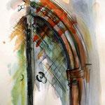 Das Tor, Aquarell und Farbstifte, 40x30