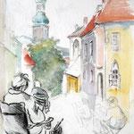 Sopron, Aquarell und Kohle, 40x30