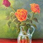 Blumen 1, Öl auf Hartfaserplatte, 50x40