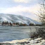 An der Donau, Öl auf Malplatte, 40x50