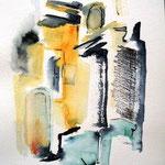 Fassade, Aquarell, Tusche, Bleistift, 40x30, verkauft