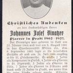 Sterbebildchen des langjährigen Pfarrers Johann Vinatzer