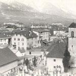 Das alte Pradl ca. 1915 mit dem seit 1913 gekappten Kirchturm